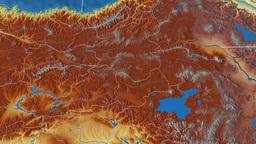 Agri - Turkey region extruded. Bumps shaded Animation