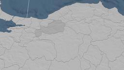 Bolu - Turkey region extruded. Bumps Animation