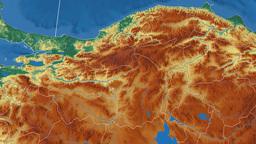 Bolu - Turkey region extruded. Bumps shaded Animation