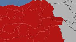Igdir - Turkey region extruded. Solids Animation