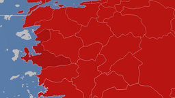 Izmir - Turkey region extruded. Solids Animation