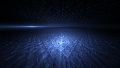 Dynamic Blue Translucent Cubical Horizon Animation