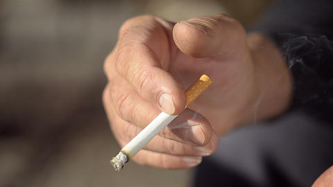 Mature Man Stops Smoking stock footage