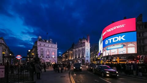 Evening traffic on Piccadilly Circus in London, UK Footage