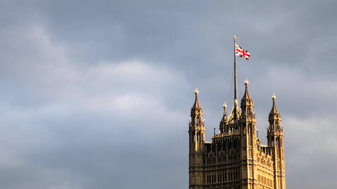 The Union Jack, Palace of Westminster, London, United Kingdom Live Action