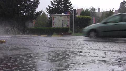Car traffic in city on heavy rain 06 Footage