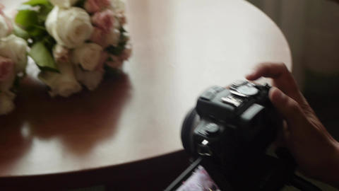 Photographer poses two wedding bouquets 16 Footage