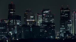 Tokyo Skyline at Night (4K Time Lapse) Footage