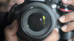 Digital SLR Camera Lens Focusing And Controlling stock footage
