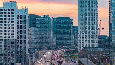 Toronto, Canada, Timelapse - The Gardiner Expressway at Sunset Footage