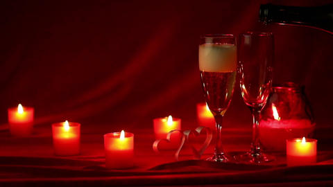 Champagne and candles Footage