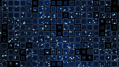 Glowing Tiles and Falling Squares Animation - Loop Blue Animation