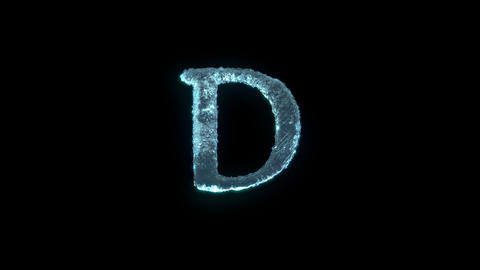 The Letter D Of Ice Isolated On Black With Alpha Matte Animation