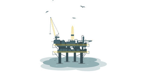 Oil platform. Animation with alpha channel Stock Video Footage