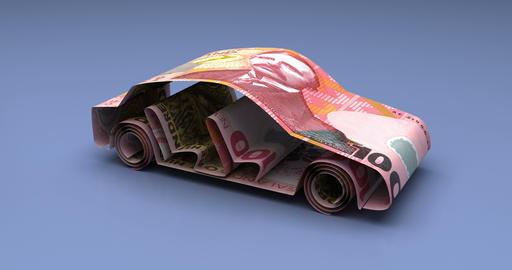 Car Finance with New Zealand Dollars Animation