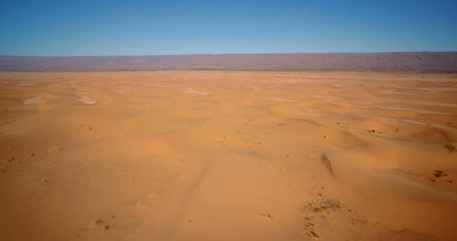 Aerial, Flying Over Sahara Dunes, Erg Chegaga, Morocco Footage