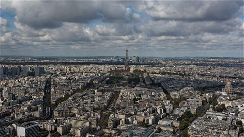 Paris, France - Timelapse - Panoramic view of Paris Footage