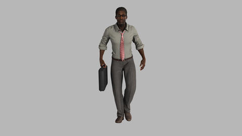 male businessman with a briefcase walking Animation