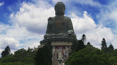 Big Buddha in Hong Kong and Tourists. Time Lapse Footage