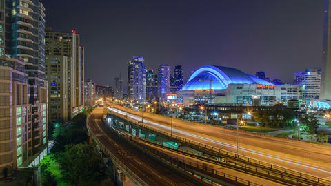 Toronto, Canada - Timelapse - The Gardiner Expressway and the Rogers Center Footage
