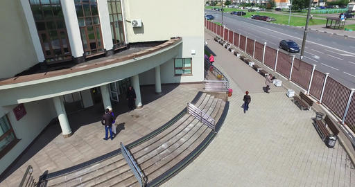 Aerial courthouse entrance and exit of people Footage