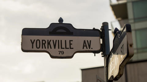 Toronto, Canada - Timelapse - Yorkville Street Sign Live Action