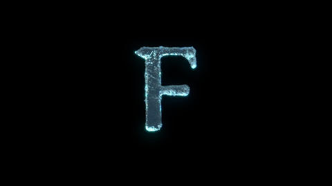 The Letter F Of Ice Isolated On Black With Alpha Matte Animation