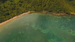 Aerial view tropical lagoon,sea, beach. Tropical island. Catanduanes, Philippine Footage