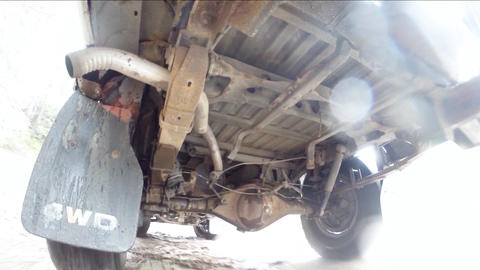 Pickup Truck undercarriage Footage