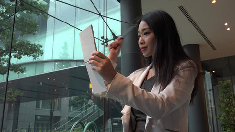 Beauty For Young Asian Woman Businessswoman In Office Building Footage