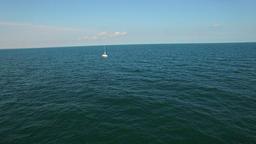 Aerial flight over sailboat at Black Sea Footage