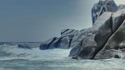 Crashing Waves Granite Rock Coast Capo Testa Sardinia Italy Footage