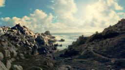 Mistral Wind Formed Granite Coastline Capo Testa Sardinia Italy Footage