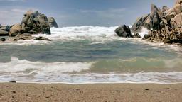 Wild Sand Beach Granite Coastal Rocks Capo Testa Sardinia Italy Footage