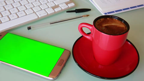Smartphone And Cup Of Coffee - Green Screen Footage