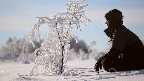 A man admires the tree in the snow Footage