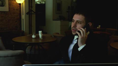 Business call on coffee break Footage