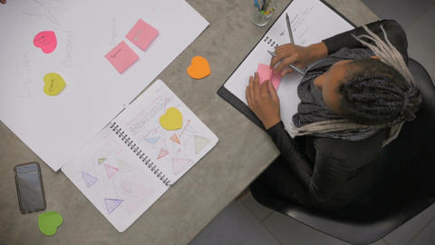 A multi racial group of millennials plan a business idea on paper together, coll Footage