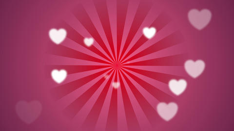 Bright pink beams and blurred hearts video clip Animation