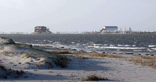 On the beach of St. Peter-Ording in Germany Stock Video Footage