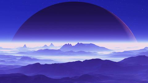 Huge Planet over Alien Terrain Stock Video Footage