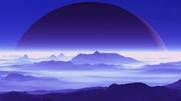 Huge Planet over Alien Terrain, Stock Animation