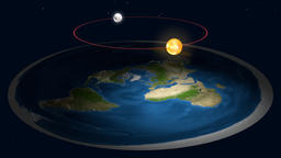 Zoom out and revolution (rotation) around flat earth 3D model. Satellite map Animation
