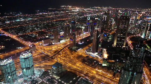 Dubai downtown at night, United Arab Emirates Filmmaterial