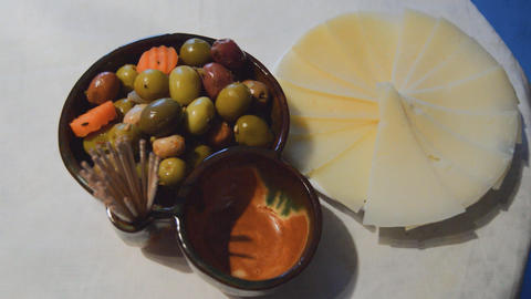 Marinated Olives And Feta Cheese Footage