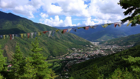 Bhutan panorama Thimphu in a valley of mountains Live Action