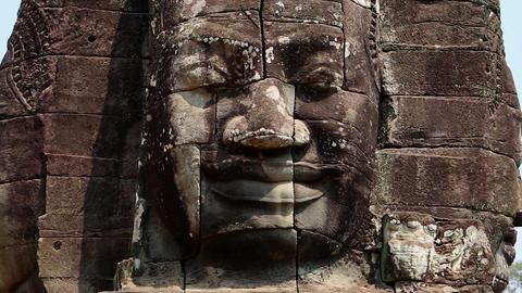 Cambodia Angkor Wat Bayon face temple Footage