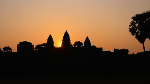 Cambodia Angkor Wat sunrise dolly shot Footage