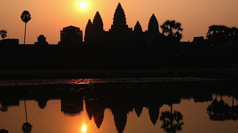 Cambodia Angkor Wat sunrise with mirror image reflection Footage