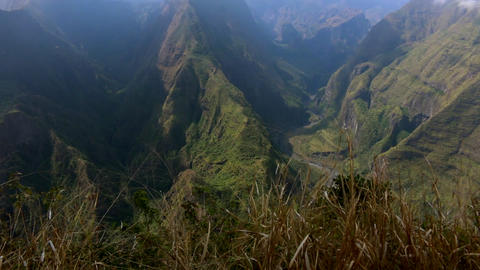 La Reunion Cap Noir panorama view of the mountains with... Stock Video Footage